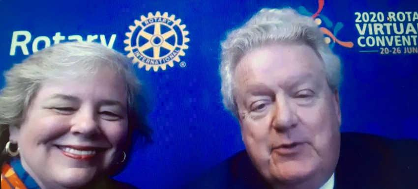 Mark Maloney, et son épouse, en visio lors de la remise de la charte au club Toul Régina